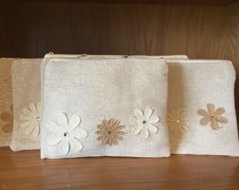 Bridesmaid Clutch Linen Set of 6 - Wedding - Brisesmaids