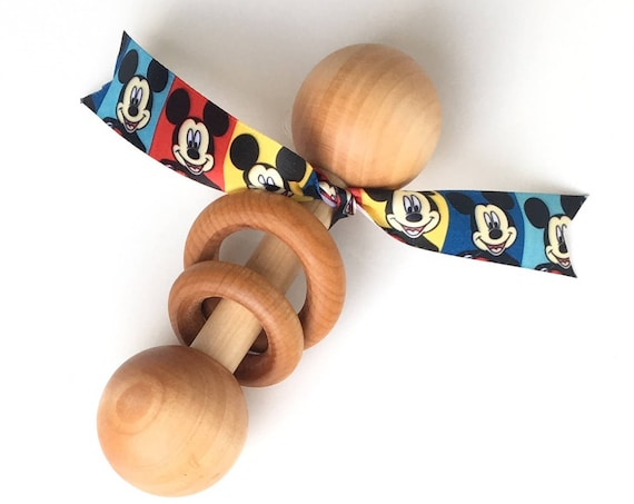 TOM-TOM TEETHER™ - Mickey - Wooden Rattle - Newborn Teether - Teething Toy - Early Learning - Preemie Toy - Organic Teether