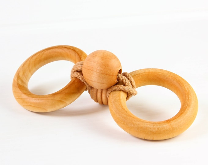 Wooden Toy Organic Baby Teether INFINITY TEETHER™ - Organic Wooden Teether - Fine Motor Toy - Natural Baby - Wooden Toys - Preemie Toy