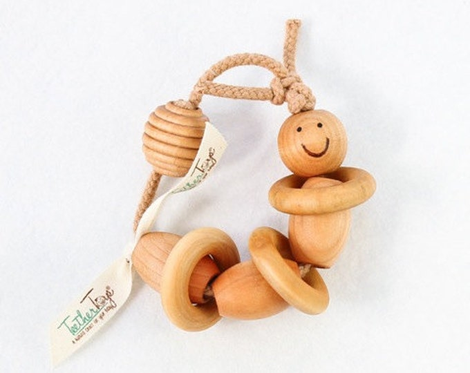 Wooden Toy Organic Baby Teether BUGSLY™ - Organic Teether - Teether Toys - Baby Toy - Fine Motor Toy - Baby Shower - Early Learning