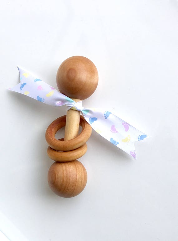 TOM-TOM TEETHER™ - Newborn Footprints - Wooden Rattle - Wooden Teether - Teething Toy - Early Learning - Preemie Toy - Organic Teether