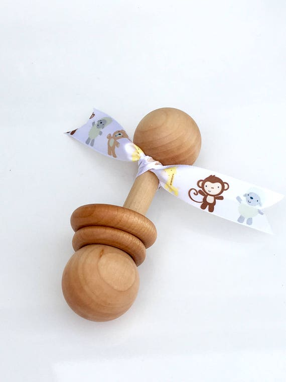 TOM-TOM TEETHER™ - Nursery Animals - Wooden Rattle - Newborn Teether - Teething Toy - Early Learning - Preemie Toy - Organic Teether