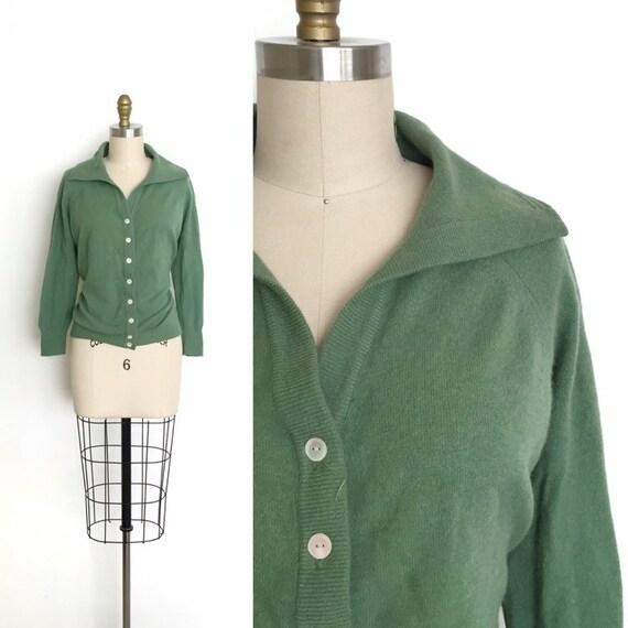 vintage 1950s sweater   50s wool knit cardigan