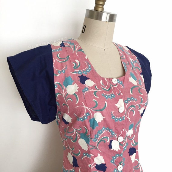 vintage 1930s 1940s dress | 30s 40s floral print … - image 2