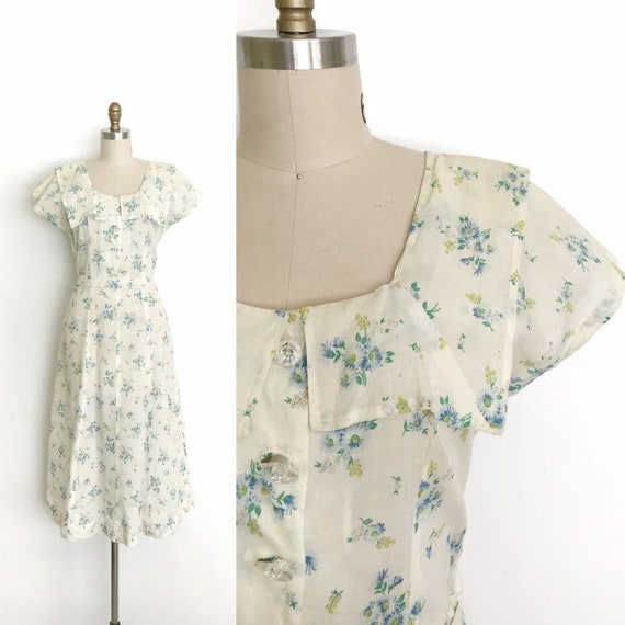 vintage 1930s 1940s dress | 30s 40s ditty floral d