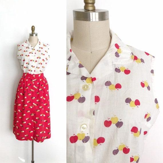 vintage 1950s two piece set | 50s cherry print blo