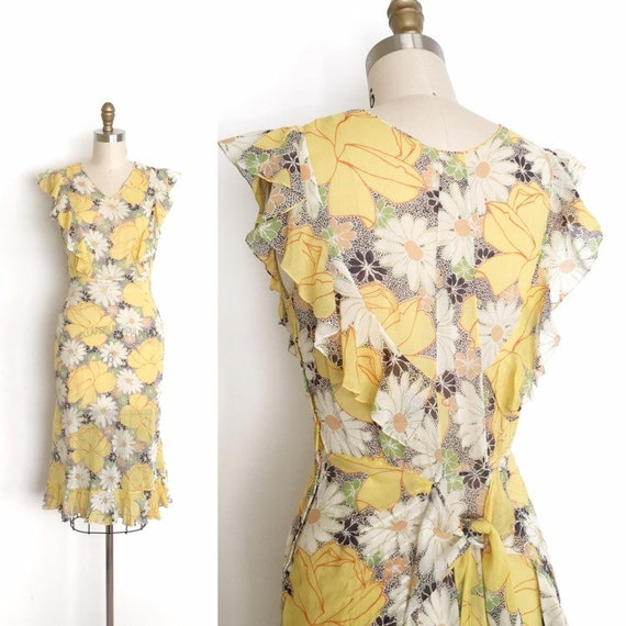 vintage 1930s dress | 30s rose and daisy print dre