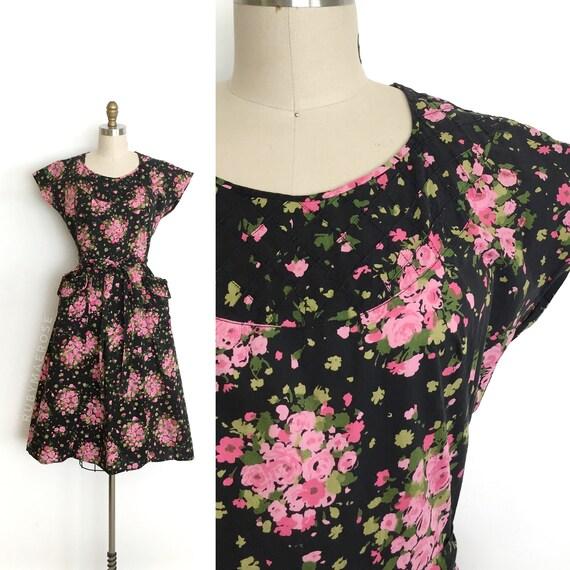 vintage 1940s dress | 40s black floral print cotto