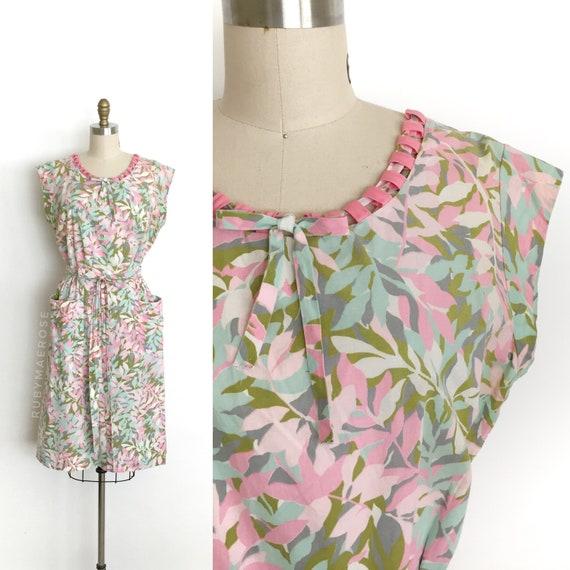 vintage 1950s dress | 50s tropical novelty print c