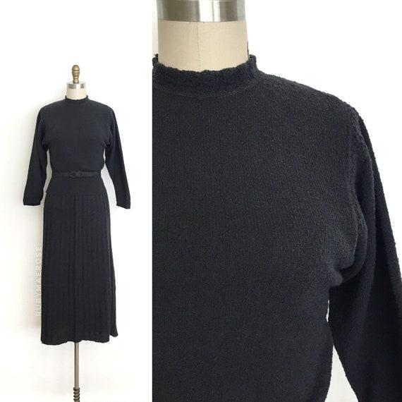 vintage 1940s dress set | 40s wool knit sweater, s