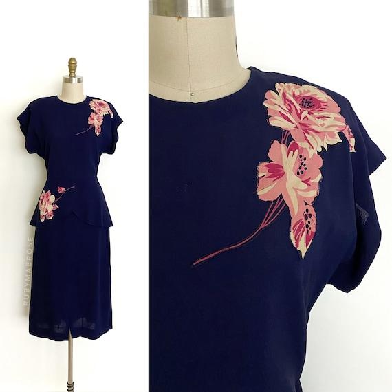 vintage 1940s dress   40s rose floral appliqué pep