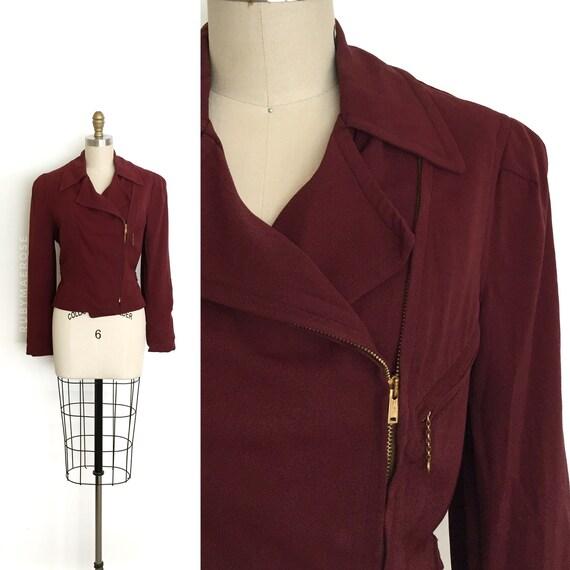 vintage 1930s 1940s jacket | 30s 40s burgundy belt