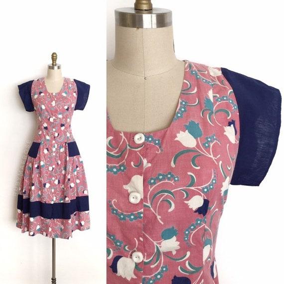 vintage 1930s 1940s dress | 30s 40s floral print … - image 1