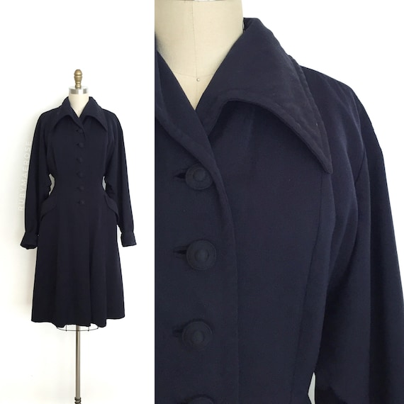 vintage 1940s coat | 40s navy wool gabardine light
