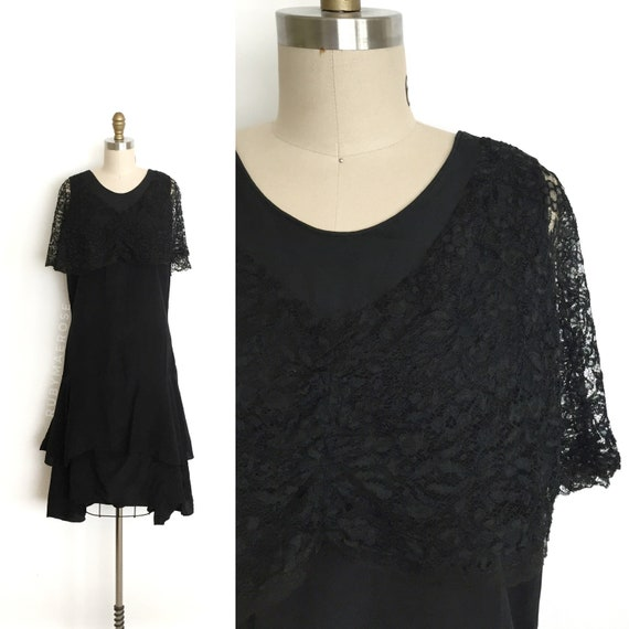 vintage 1920s dress | 20s rayon sheer floral lace