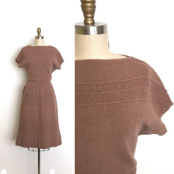 vintage 1950s dress   50s knit sweater dress