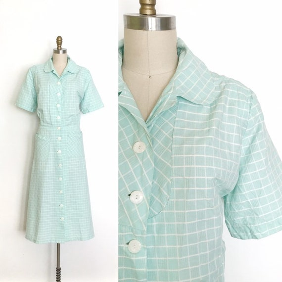 vintage 1930s dress | 30s windowpane checkered cot