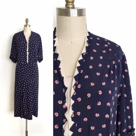 vintage 1930s dress | 30s clover print dress