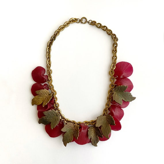 vintage 1930s 1940s necklace | 30s 40s brass leaf
