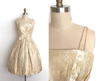 vintage 1950s dress | 50s rose brocade party dress