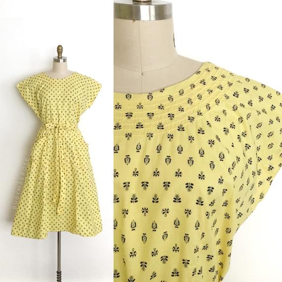 vintage 1950s dress | 50s micro floral print cotto