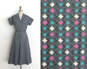 vintage 1950s dress | 40s X's and O's day dress