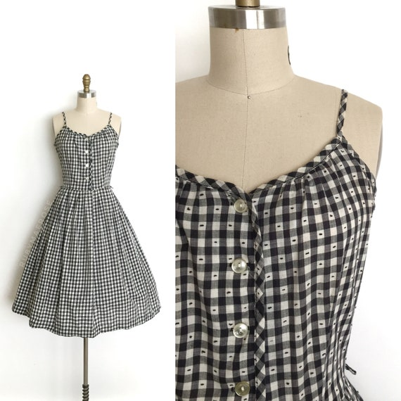 vintage 1950s dress   50s gingham swiss dot fit an