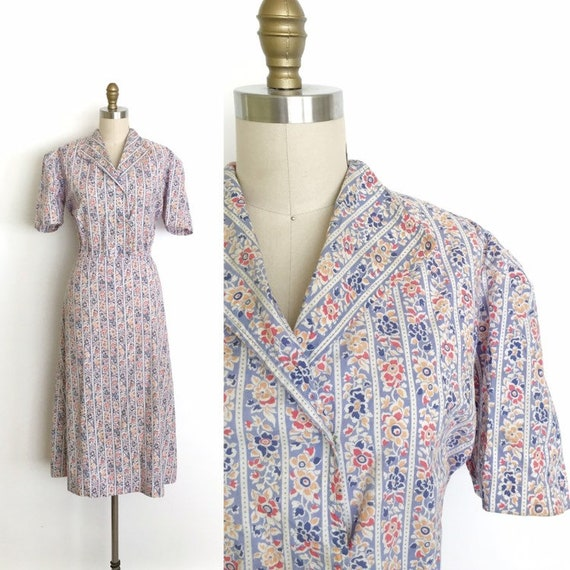 vintage 1930s dress | 30s WPA floral print stripe