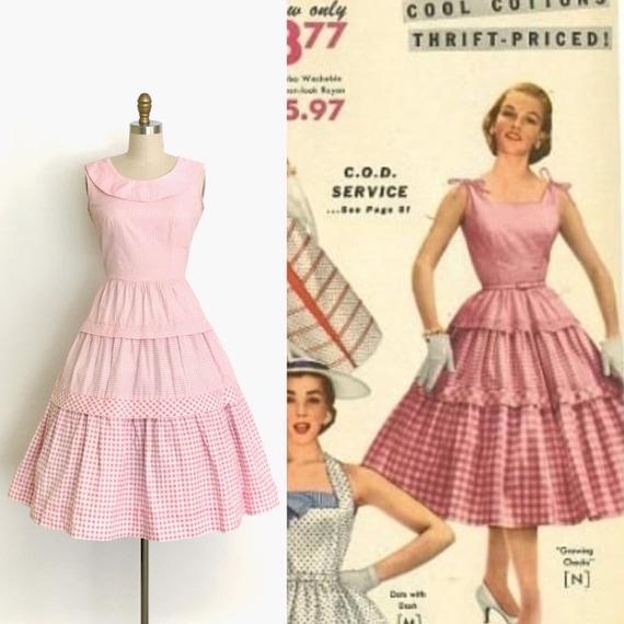 vintage 1950s dress | 50s gingham summer dress