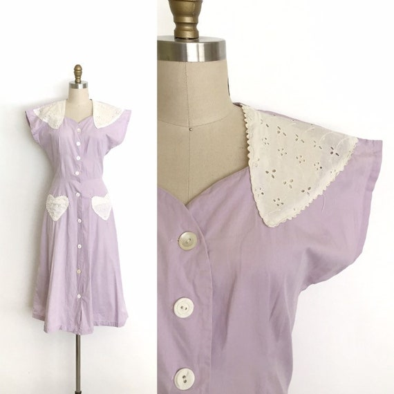 vintage 1940s dress | 40s lilac heart pocket butto