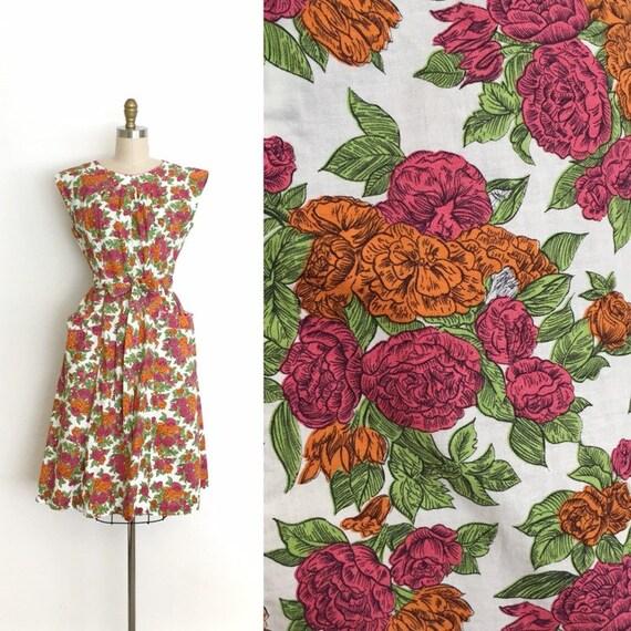 vintage 1950s dress | 50s botanical floral print c