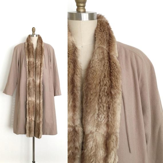 vintage 1940s coat   40s fur trim wool winter oper
