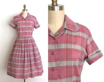 vintage 1950s dress | 50s plaid shirt dress