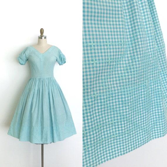 vintage 1950s dress | 50s embroidered gingham dres