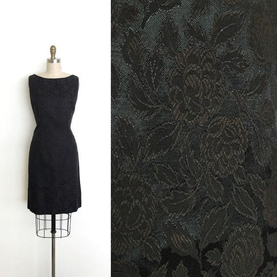 vintage 1950s 1960s dress   50s 60s rose brocade e