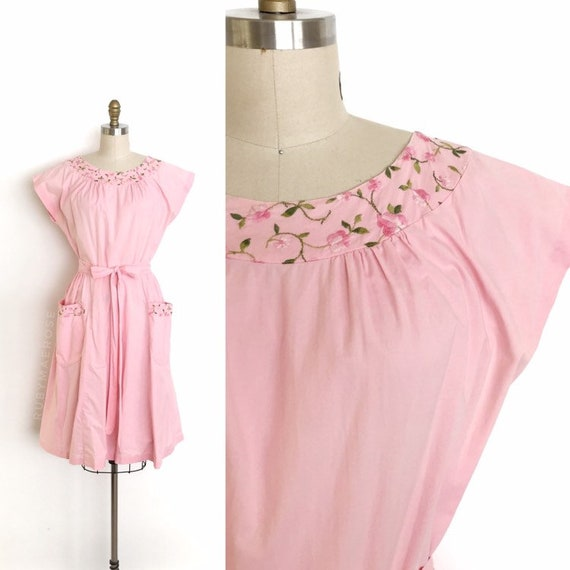 vintage 1950s dress | 50s floral embroidered cotto