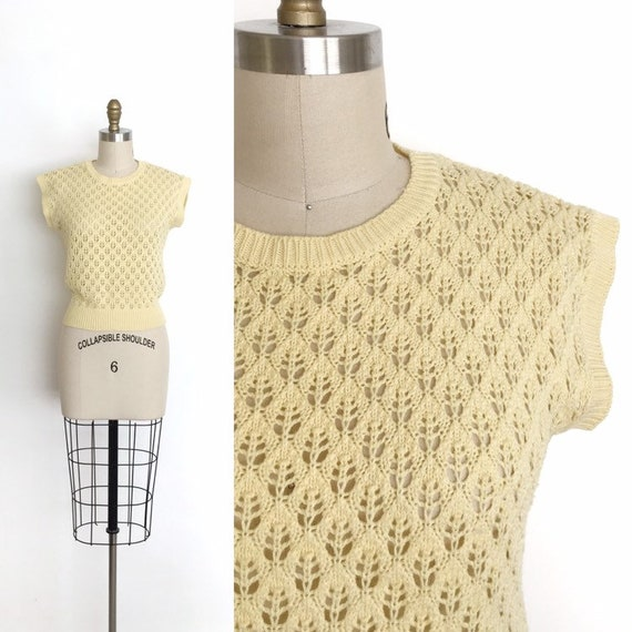vintage 1950s sweater   50s cotton knit jumper