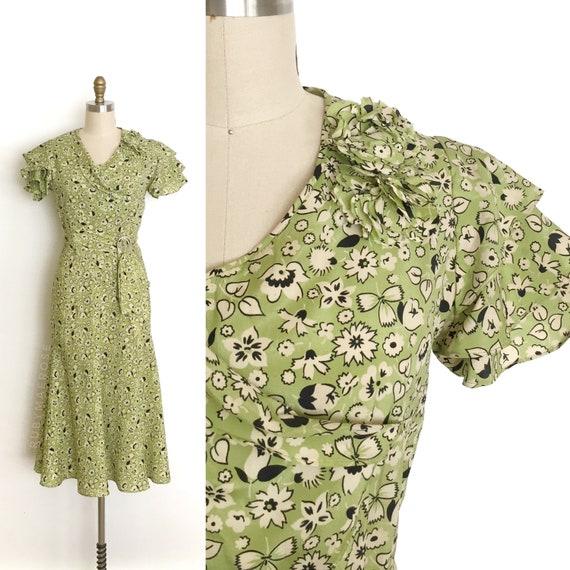 vintage 1930s dress | 30s floral print rayon eveni