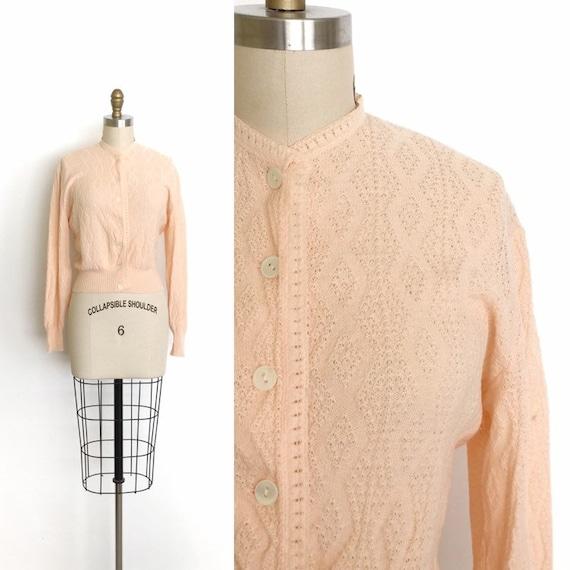 vintage 1950s sweater   50s peach knit cardigan