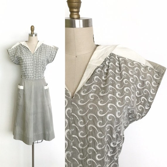 vintage 1940s dress | 40s embroidered day dress
