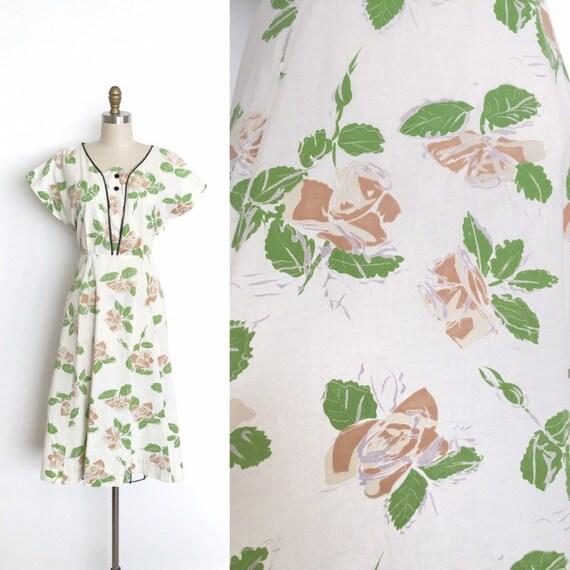 vintage 1940s dress | 40s rose print day dress
