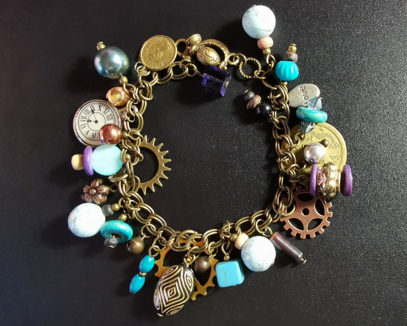 Boho Hippy Gypsy Collage Bohemian Unique OOAK  V08 Assemblage  Found Object  Junk Jewellery Mixed Metal /& Bead Chunky Charm Bracelet