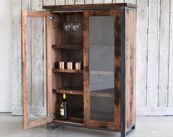 Reclaimed Wood Glass Double Door Cabinet / Bar Storage Cabinet / China Cabinet