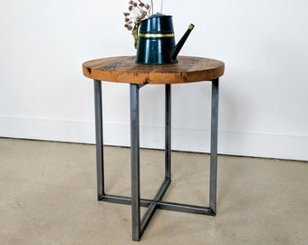 Reclaimed Wood Round Side Table / Accent Table / End Table with Metal Legs