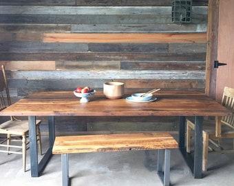 Reclaimed Wood Dining Table U Shaped Metal Legs Etsy