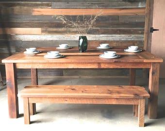 Reclaimed Wood Dining Table, Farmhouse Dining Table
