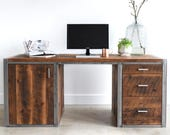 Large Industrial Desk made from Reclaimed Wood + Steel / Built in Filing + Printer Station