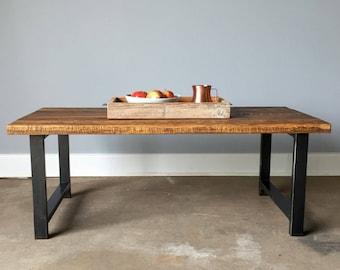 Reclaimed Wood Coffee Table / Industrial H-Shaped Steel Legs