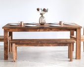 Reclaimed Wood Kitchen Table / Plank Farmhouse Dining Table