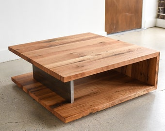 Reclaimed Wood Coffee Table Square Etsy